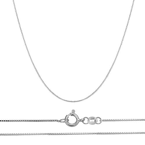 Chain Fine Link - Orostar 14K Solid Gold 0.45mm Thin Box Chain Pendant Necklace, 18
