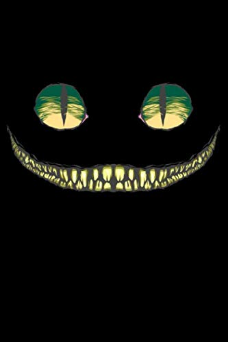 (Journal: Grinning Cheshire Cat Wonderland with Green Eyes Black Lined Notebook Writing Diary - 120 Pages 6 x 9)