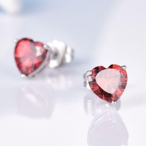 Gozebra(TM) Lovely Heart Red Garnet Crystal 18K White Gold Filled Stud Earrings For Women