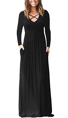 LONGYUAN Women s S Long Sleeve Racerback Maxi Dresses with Pockets Plain  Loose Long Dresses Black X 3a01d386e
