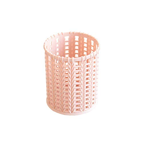 Jingfengtongxun Pen Holder, Hollow Youth Style Pen Holder, Multi-Functional Plastic Student Desk Storage Pen Barrel (Pink, White, Brown, Blue) Stylish Simplicity (Color : Pink)