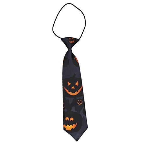 INWANZI Novelty Fashion Pre-Tied Elastic Tie Halloween Pumpkin Patterns 1 Necktie for Boys Kids - 1 Pattern Necktie Silk