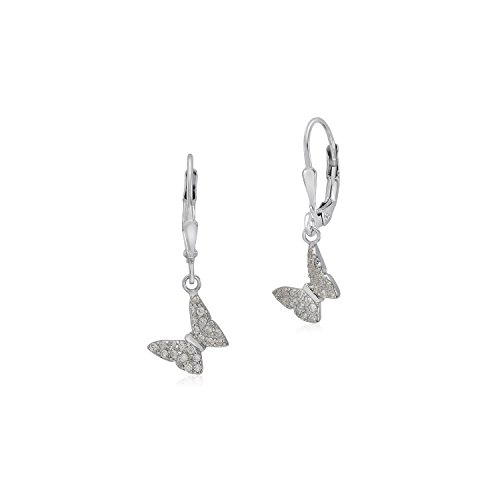 UNICORNJ Sterling Silver 925 Tilted Butterfly Charm Dangle Leverback Earrings with Pave CZ Clear Italy - Pave Butterfly Charm