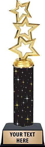 11 Inch Three Star Trophies - Black Midnight Three Star Trophy Awards -