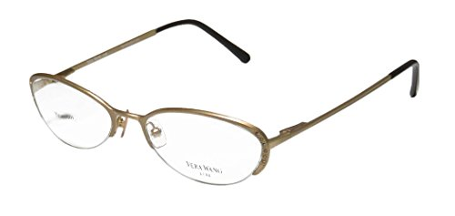 Vera Wang Epiphany Ii Womens/Ladies Designer Half-rim Titanium Crystals Spring Hinges Eyeglasses/Eye Glasses (52-17-140, Yellow Gold)