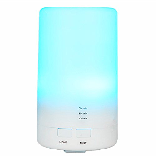 Essential Oil Diffuser, Walkas 100ml Aroma Essential Oil Cool Mist Humidifier with Adjustable Mist Mode,Waterless Auto Shut-off and 7 Color LED Lights Changing for Home Office Baby Yoga
