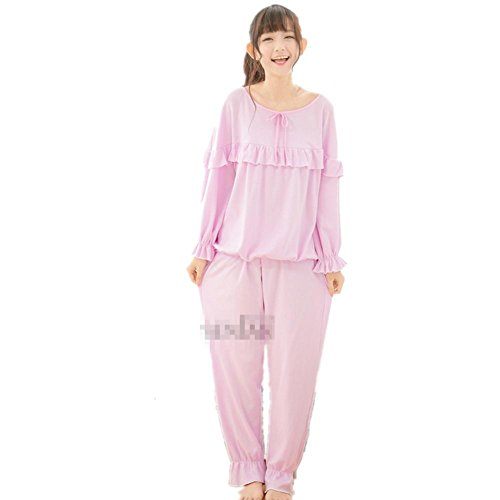 DMMSS Las Mujeres 'S Color Puro Pijamas Set De Algodón De Manga Larga T - Camisa 2 - Pieza Inicio Ropa Dormir Set Purple