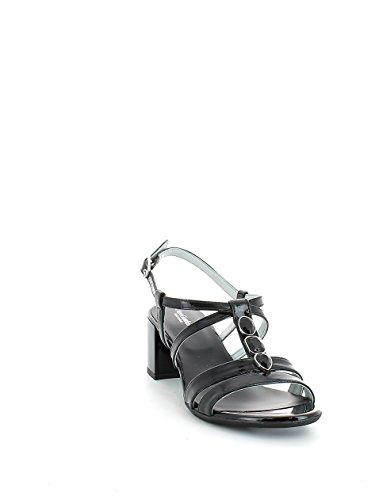 Sandalo in vernice nera con pietre e mezzo tacco N. 41