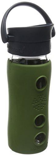 Lifefactory 12-Ounce Insulated Glass Hot Tea & Coffee Travel Mug with Cafe Cap, Sage