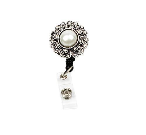 Badge Reel, Retractable Badge Holder, ID Badge Reel with Alligator Clip, 26 inch Retractable Cord, Nurse Badge Holder with Pearl Flower ()