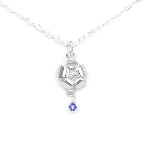 (February Flower Violet Necklace with Birthstone Colored Crystal - Gift Packaged - Handcrafted Pewter Made in USA)