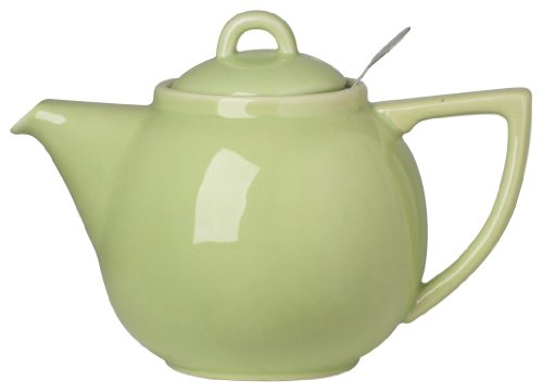 London Pottery Geo Teapot with Stainless Steel Infuser, 2 Cup Capacity, Pistachio Green (Ceramic Green Glazed Pistachio)