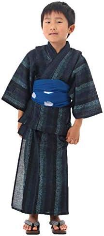 [男着物の加藤商店] 子供浴衣 男の子 2点セット 濃紺