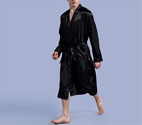 Seta Plus Size Tinta Abito Accappatoio Gray Autunno Camicia Kimono Estate Pigiama Notte Di Raso Cinese Lusso Da Maschio Mens Availcx Primavera Unita YqzAw0x