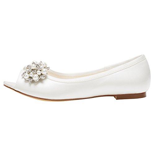Ivoire Mariage Beige Perle de Chaussures Plates Pompes on Chaussures Peep Strass Mariée Slip Emily Bridal de ZC0twqHxWS