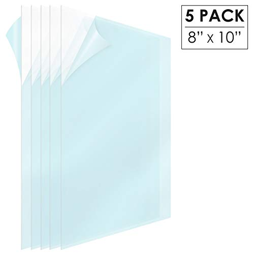 Pet Material (MIFFLIN Clear Plastic Sheet (8x10 inch, 5 Pack), PET Material is The Perfect Replacement for 8x10 Picture Frame Glass)