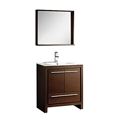 "Fresca FVN8130WG-FFT3811CH Allier Modern Bathroom Vanity with Mirror, 30"", Wenge Brown - Dimensions of vanity: 29.5 inch w x 18.5 inch D x 33.5 inch H Dimensions of mirror: 29.5 inch w x 25.5 inch H x 6 inch D Materials: plywood with veneer, ceramic countertop/sink with overflow - bathroom-vanities, bathroom-fixtures-hardware, bathroom - 31F%2BmltkHFL. SS400  -"