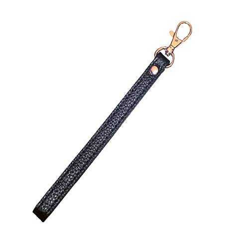 SeptCity Wristlet KeyChain Cellphone Leather Hand Strap with Golden Lock(Sexy Black)
