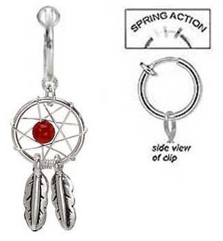 Fake Belly Navel Non Clip on Piercing Pretty Ruby red Dream catcher dreamcatcher Dangle