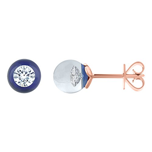 GSL Certified 1/5ct tw Diamond in Blue Glass Stud Earrings in 14K Rose Gold (I1) by DIAMOND HUB