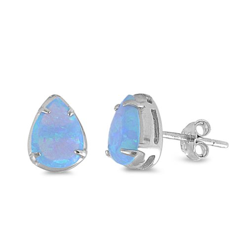 Sterling Silver Light Blue Created Opal Pear Stud Earrings - (Blue Opal Earrings)