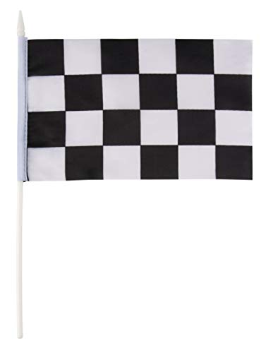 Juvale Checkered Flag - 72-Pack Racing Flags on Plastic Sticks with Spearhead Tip, Hand Flags for Race Car Birthday Party Favors, Black and White, 5.5 x 7.8 -