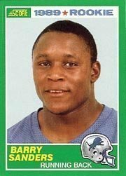 1989 Score Barry Sanders Rookie Football Card #257 - Shipped In Protective Display Case!