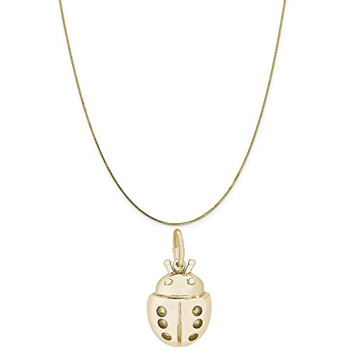 Rembrandt Charms 10K Yellow Gold Ladybug Charm on a 10K Yellow Gold Box Chain Necklace, 16