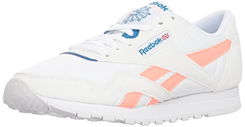 (Reebok Women's Classic Nylon Walking Shoe, Retro-White/Digital Pink, 6 M US )