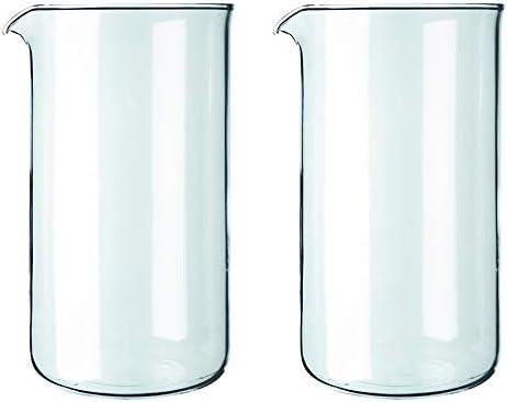 Bodum - Jarra de cristal de repuesto para cafetera francesa, 8 tazas, 1 litro, 34 onzas, juego de 2: Amazon.es: Hogar
