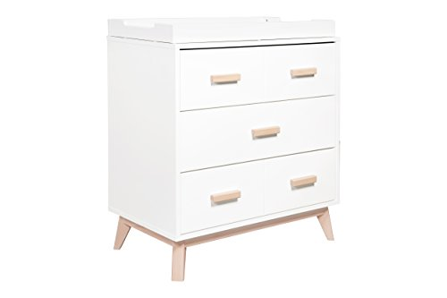 Babyletto Scoot 3-Drawer Changer Dresser with Removable Changing Tray, White / Washed (Style Dresser)