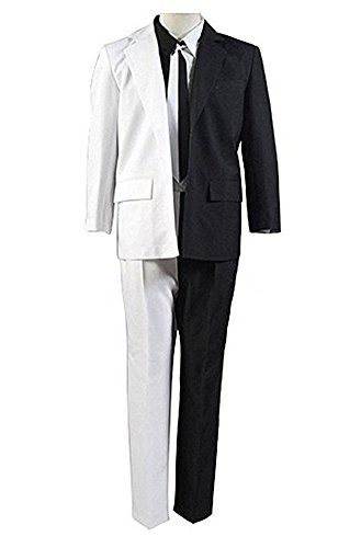 Chong Sheng Mens Black/White Two-Face Uniform Harvey Dent Coin Halloween Cosplay Costume Suit (Man-XL, Black/White) (Harvey Dent Two Face Halloween Costume)