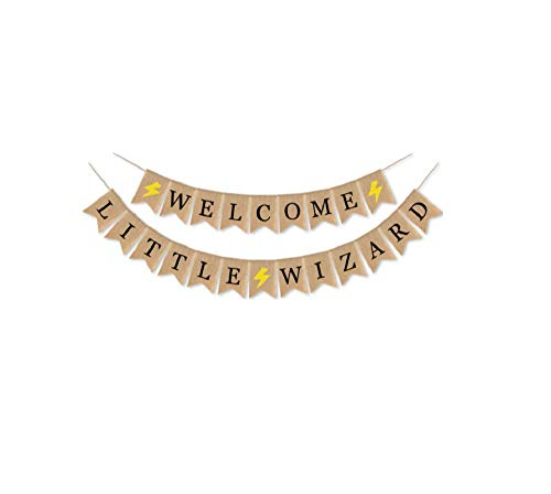 Halloween Banner WELCOME LITTLE WIZARD Letter Burlap Bunting Banner Sign Garland for Halloween Home Party Decoration -