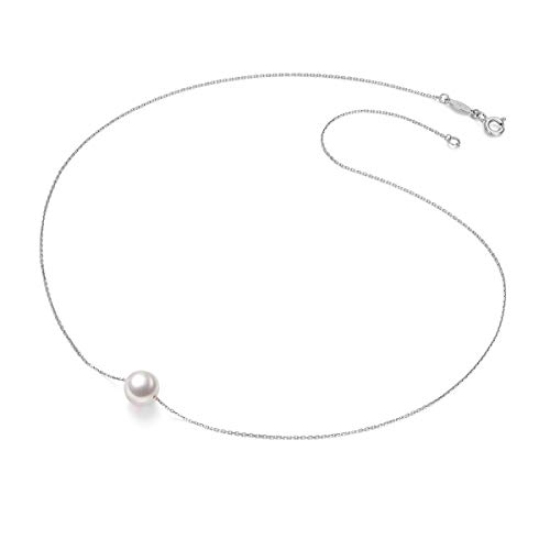Amelery Pearl Necklace Silver White Simulated Single Pendant Pearl 9-10mm 925 Solid Sterling Silver Singapore Chain 18'' Necklaces for Women (Womens Single)