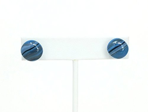Smoky Blue and Black Fused Stained Glass Stud Earrings
