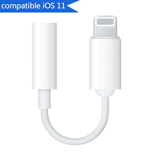 Lightning to 3.5mm Headphone Jack Adapter for iPhone 7/7 Plus/X/10/8/8 Plus/iPad iPod Converter 3.5mm Earphone Lightning Adaptor Accessories Support iOS 10.33 /11.2 and Later(White)