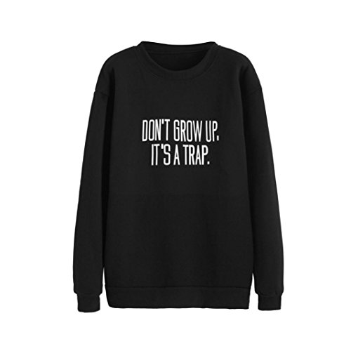 TOOPOOT Women Letters Print Round Neck Blouse Pullovers (M, black) - Top College Halloween Costumes 2016