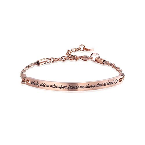 ivyAnan Jewellery Friendship Gift Side By Side or Miles apart Friends are Always Close at Heart Bracelet for Friend Sister Women Girls (Rose Gold-Side by side or miles apart.)