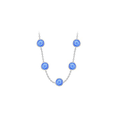 Blue Created Sapphires Necklace on 14K White Gold Bezel Set 100.00 ct.tw ()