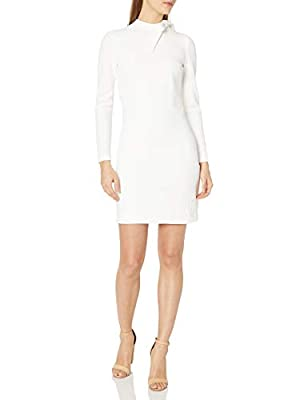 Calvin Klein Women's Petite Long Sleeve Shift with Tie Neck