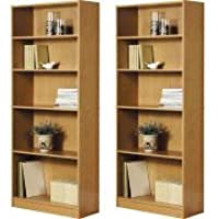 Orion Wide 5-Shelf Bookcase-Pack of 2 (Oak)