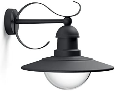 Philips Lighting Topiary, Lampada da Parete per Esterni, Vintage Design, Dimmerabile, Black Edition