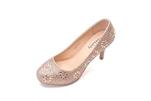 Mila Lady MAYRA05 Princess Sparkle Crystal Gem Rhinestone Glitter Formal Pumps, Wedding Shoes Evening Dress Heels for Women Champagne 10