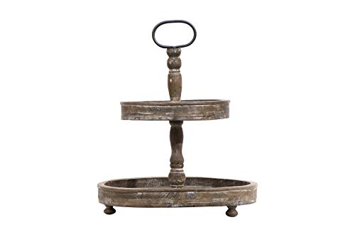 Creative Co-Op Distressed Brown Wood Metal Handle Two-Tier Tray