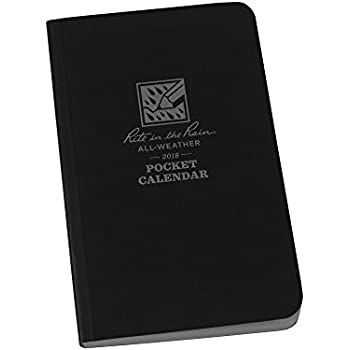 """Rite in the Rain All Weather 2018 Pocket Calendar, 3 1/2"""" x 5 1/2"""" Black Soft Cover Notebook (No. PC2018)"""