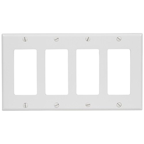 Face Light Switch (Leviton 80412-W 4-Gang Decora/GFCI Device Decora Wallplate, Standard Size, Thermoset, Device Mount, White)