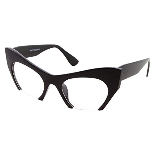 Semi Rimless Cat Eye Glasses Clear Lens Half Frame Cut Off Bottom ()