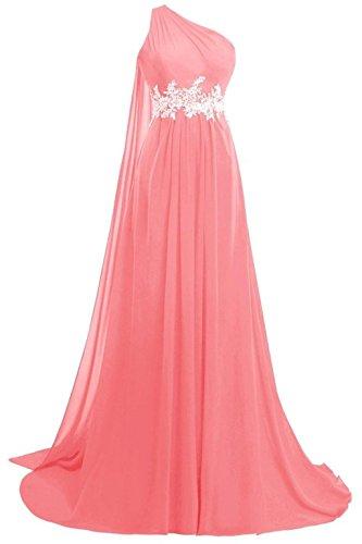 Kleider Fanciest Formelle One Damen Ball 2016 Kleider Red Coral Abendkleider Lang Shoulder Chiffon 6S6wqY