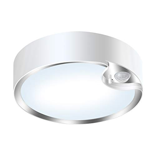 Yurnero 80 LED Motion Sensor Ceiling Light Battery Operated Ultra Bright Motion Activated Indoor Light for Stairway Hallway Laundry Basement Warehouse Daylight 300LM(Battery Not Included)
