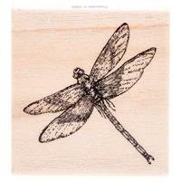Dragonfly Rubber Stamp Dragonfly Wood Stamp by CraftyCrocodile